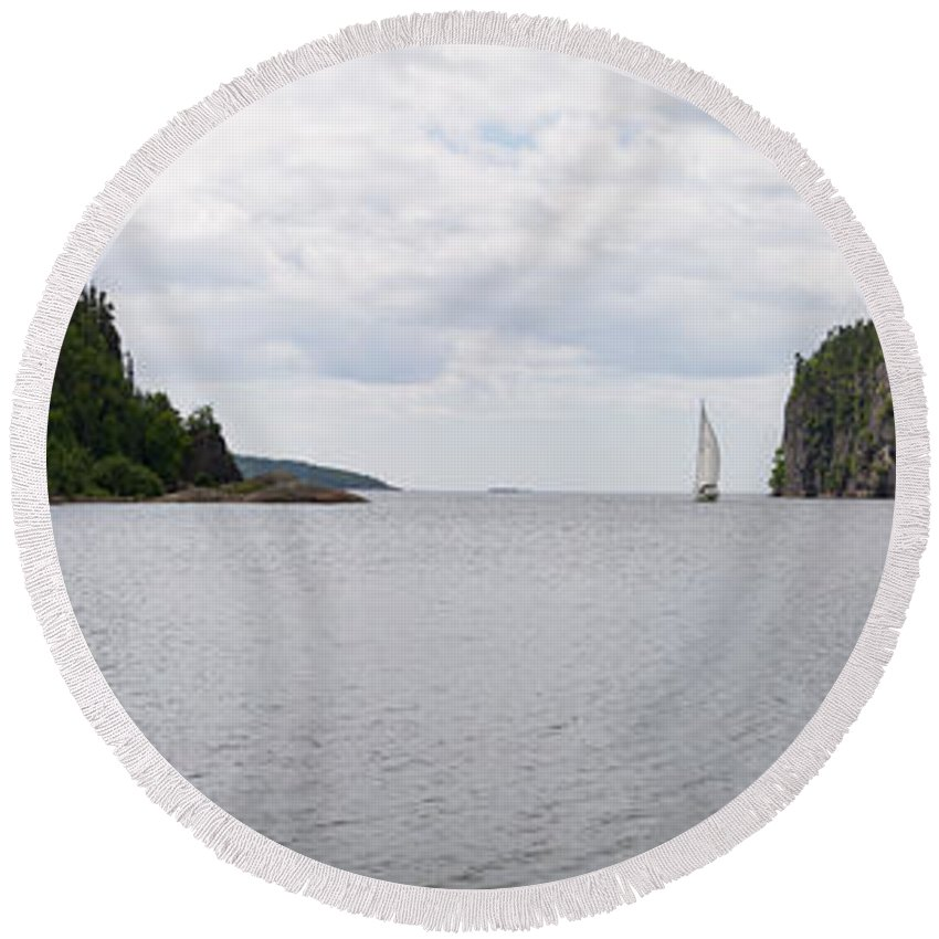 Panorama Round Beach Towel featuring the photograph Coldwell Bay by Doug Gibbons