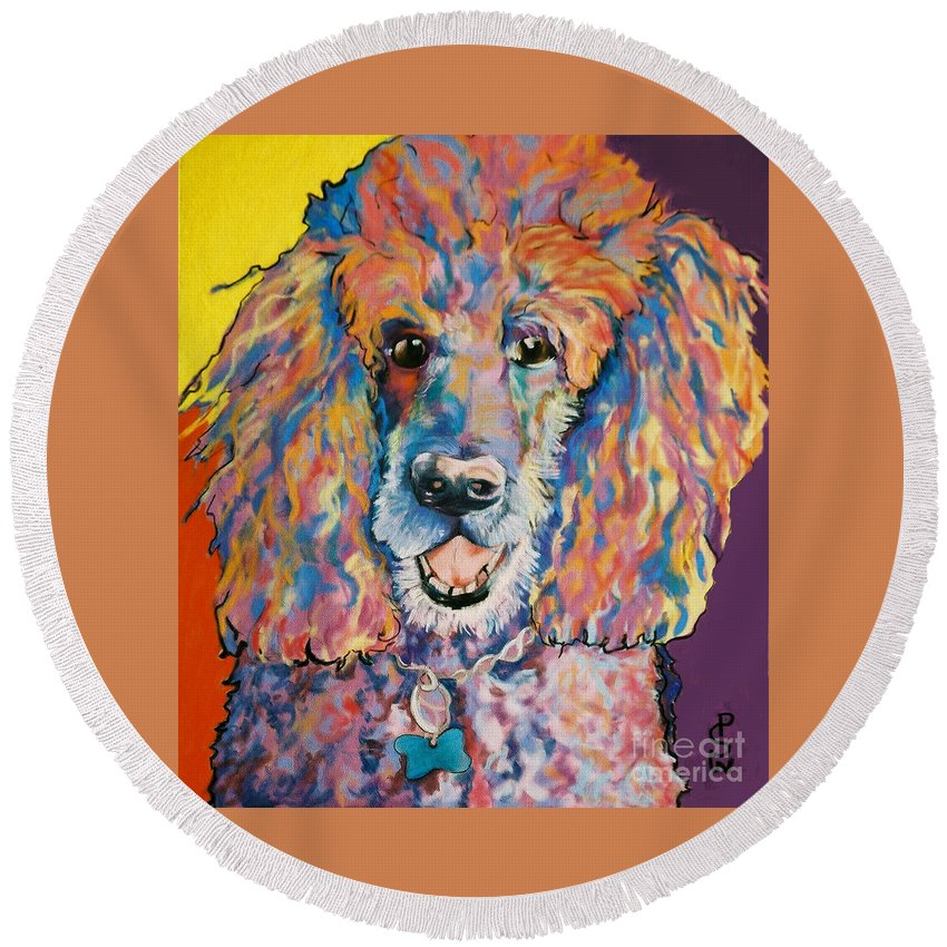 Standard Poodle Round Beach Towel featuring the painting Cole by Pat Saunders-White