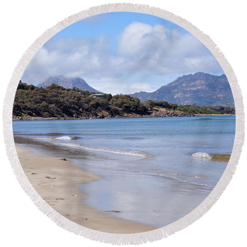 Coals Bay Round Beach Towel featuring the photograph Coles Bay by Csilla Florida
