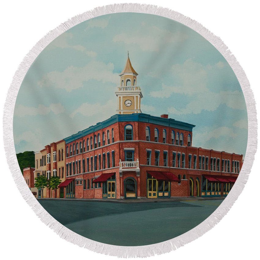 Colgate Book Store Round Beach Towel featuring the painting Colgate Bookstore by Charlotte Blanchard