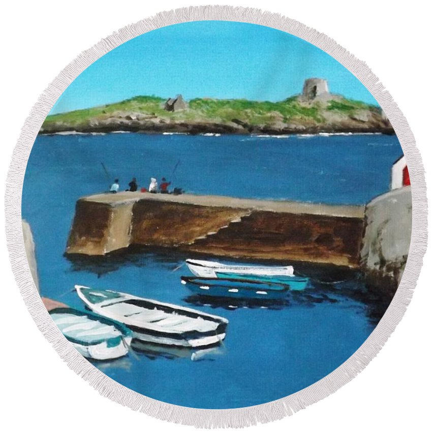 Harbour Round Beach Towel featuring the painting Coliemore Harbour, Dalkey by Tony Gunning