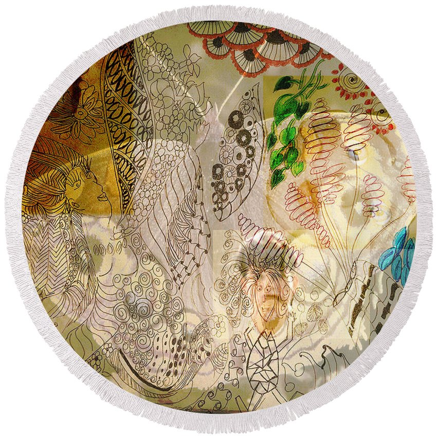 Round Beach Towel featuring the digital art Collage 23 Faces by Cathy Anderson