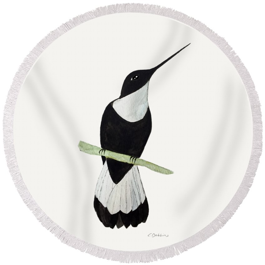Hummingbird Round Beach Towel featuring the painting Collared Inca Hummingbird by Christiane Dobbins