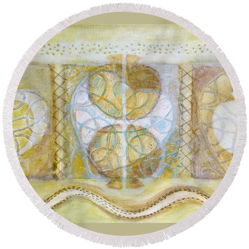 Symbolism Round Beach Towel featuring the painting Collective Unconscious Three Equals One Equals Enlightenment by Kerryn Madsen- Pietsch