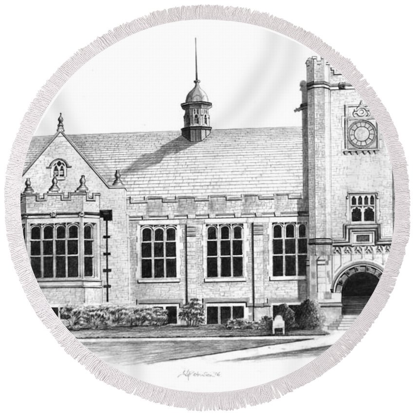 Round Beach Towel featuring the drawing College House by James Robinson