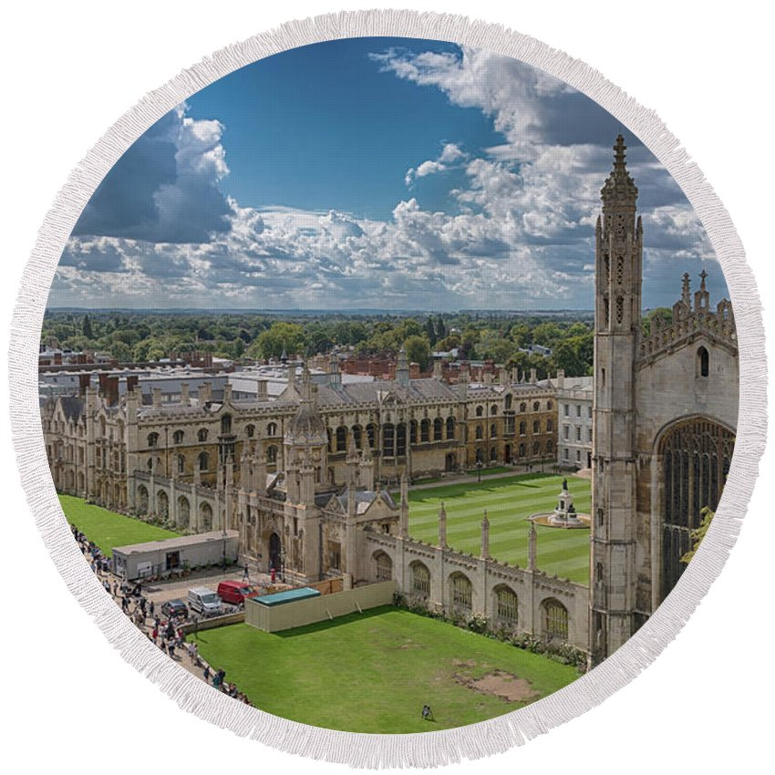 Cambridge Round Beach Towel featuring the photograph College Of Kings by Monika Tymanowska