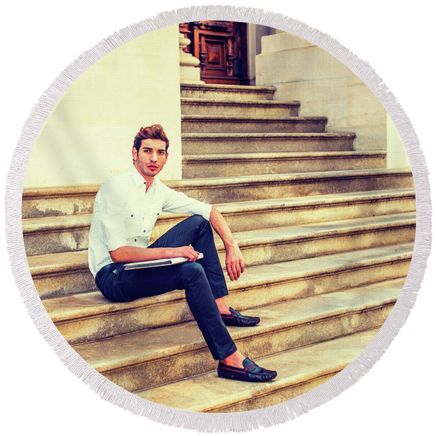 Young Round Beach Towel featuring the photograph College Student Sitting On Stairs, Relaxing Outside by Alexander Image