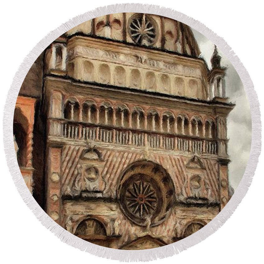 Chapel Round Beach Towel featuring the painting Colleoni Chapel by Jeffrey Kolker