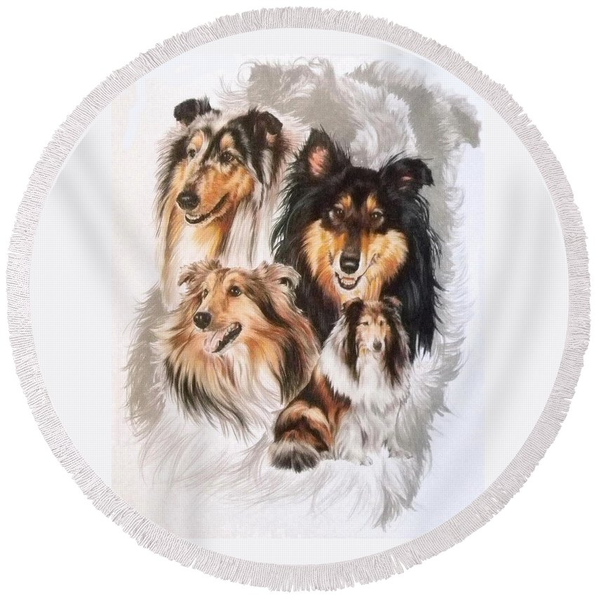 Purebred Round Beach Towel featuring the mixed media Collie Revamp by Barbara Keith