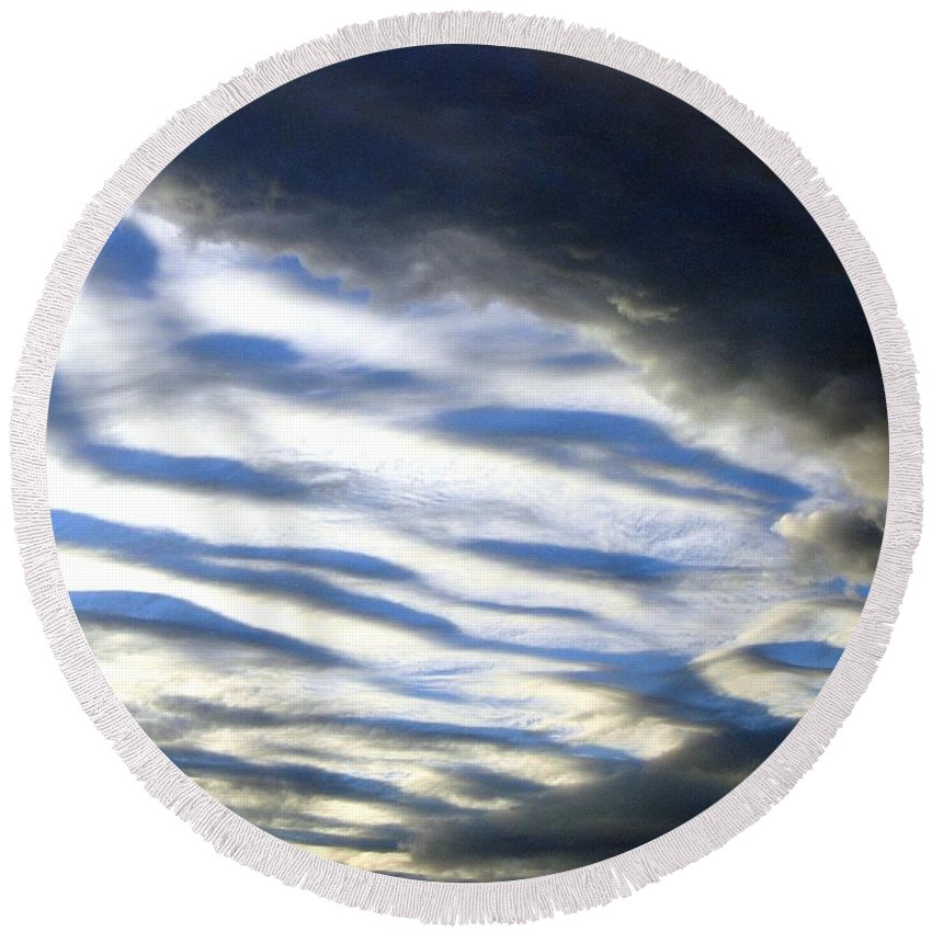 Storm Clouds Round Beach Towel featuring the photograph Collision by Will Borden