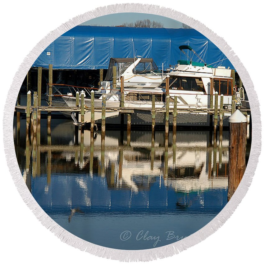 Clay Round Beach Towel featuring the photograph Colonial Beach Marina by Clayton Bruster