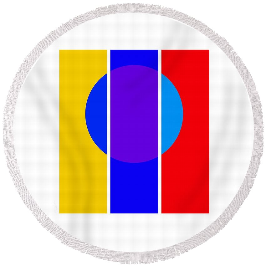 Primary Colors Round Beach Towel featuring the painting Color And Form by Charles Stuart