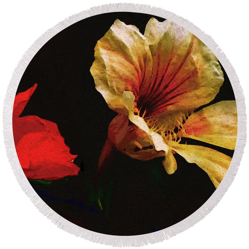 Flowers Round Beach Towel featuring the painting Color And Light Suspended by RC deWinter