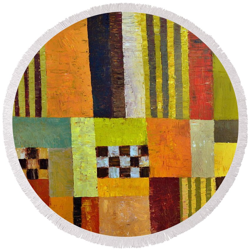 Colorful Round Beach Towel featuring the painting Color And Pattern Abstract by Michelle Calkins