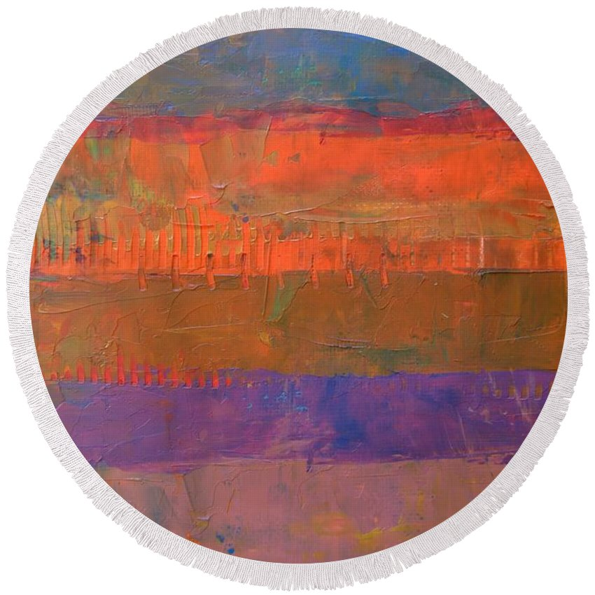 Abstract Round Beach Towel featuring the painting Color Collage Two by Michelle Calkins