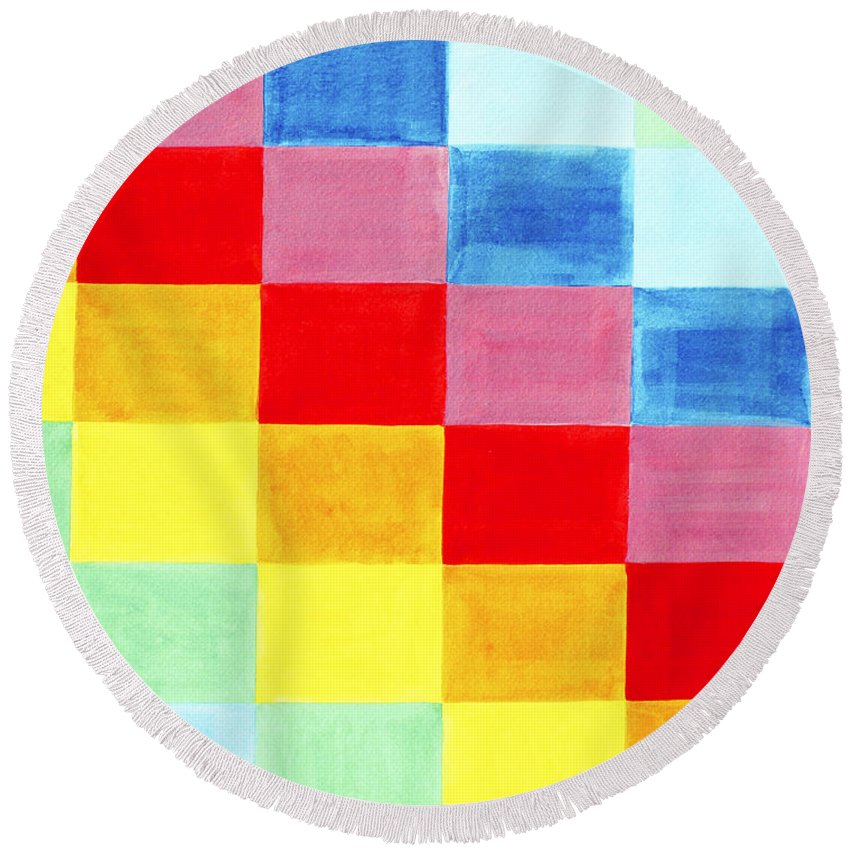 Abstract Round Beach Towel featuring the painting Color Flag by Lee Serenethos
