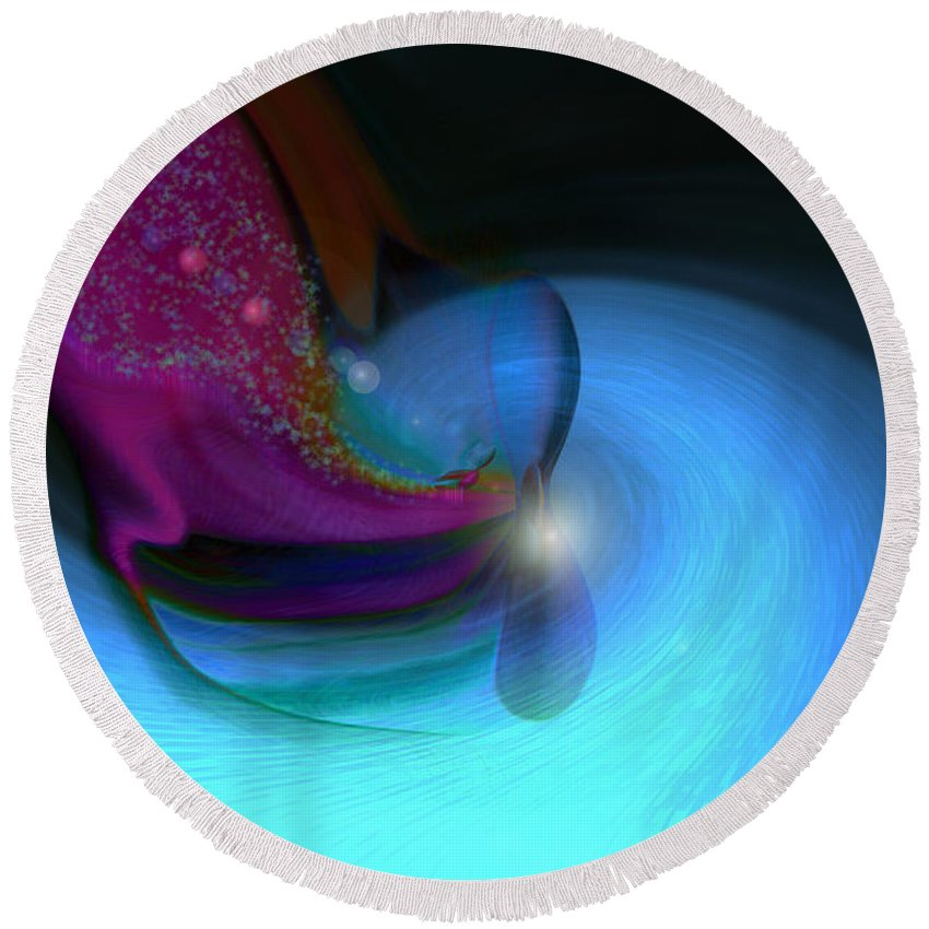 Abstract Art Round Beach Towel featuring the digital art Color Movements by Linda Sannuti