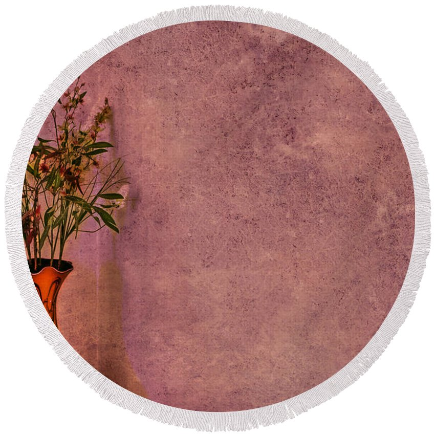 Flower Round Beach Towel featuring the photograph Color My Senses by Evelina Kremsdorf