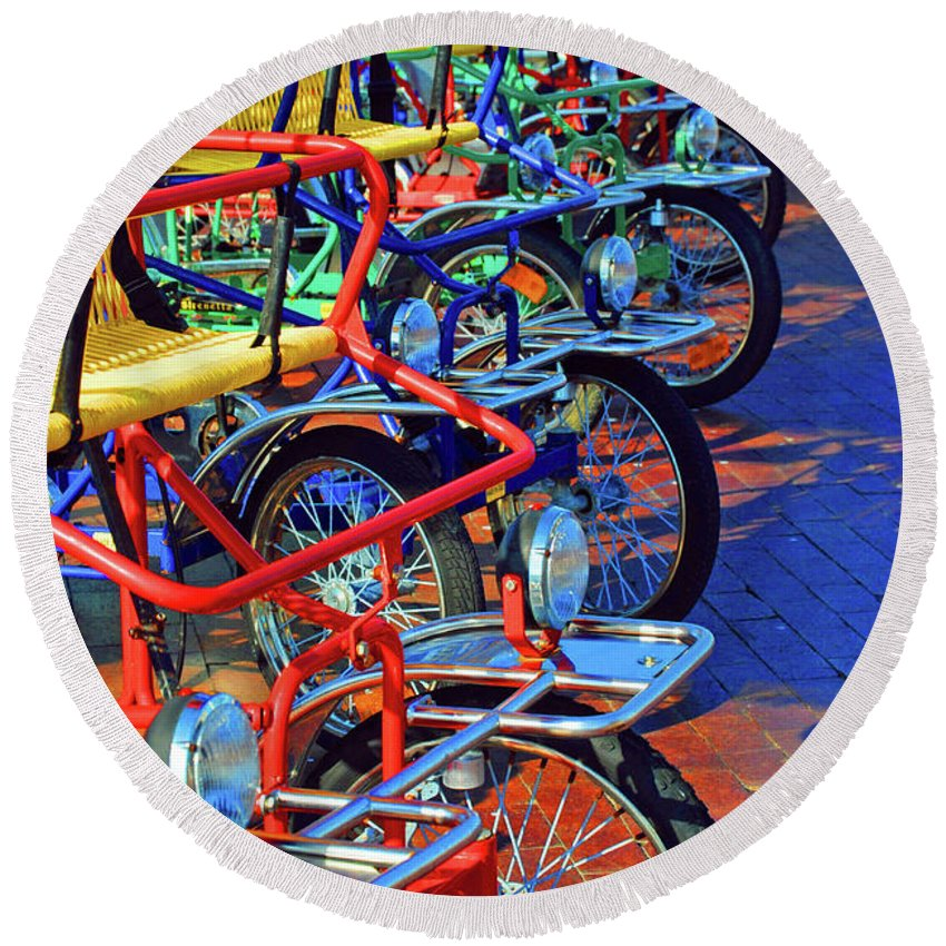 Bikes Round Beach Towel featuring the photograph Color Of Bikes by Jost Houk