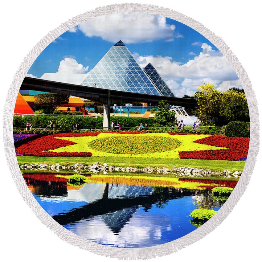 Epcot Round Beach Towel featuring the photograph Color Of Imagination by Greg Fortier