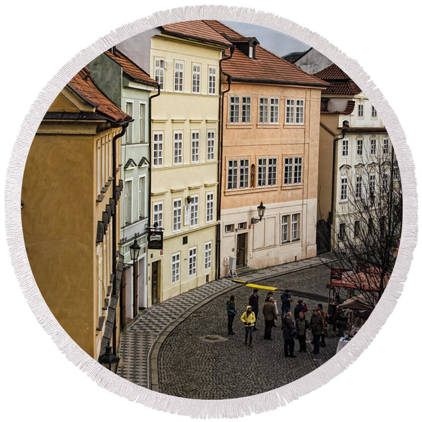 Prague Round Beach Towel featuring the photograph Color Of Prague by Heather Applegate
