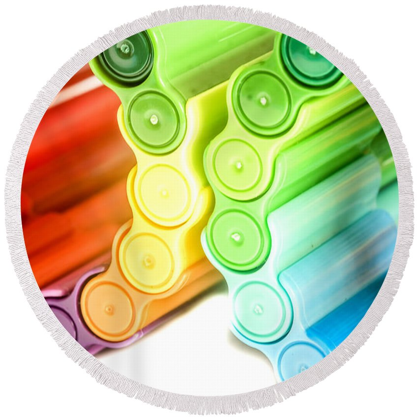 Art Round Beach Towel featuring the photograph Color Pens 3 by Jijo George
