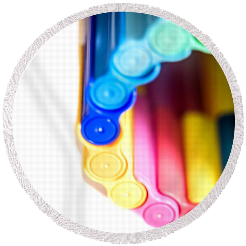 Art Round Beach Towel featuring the photograph Color Pens 8 by Jijo George