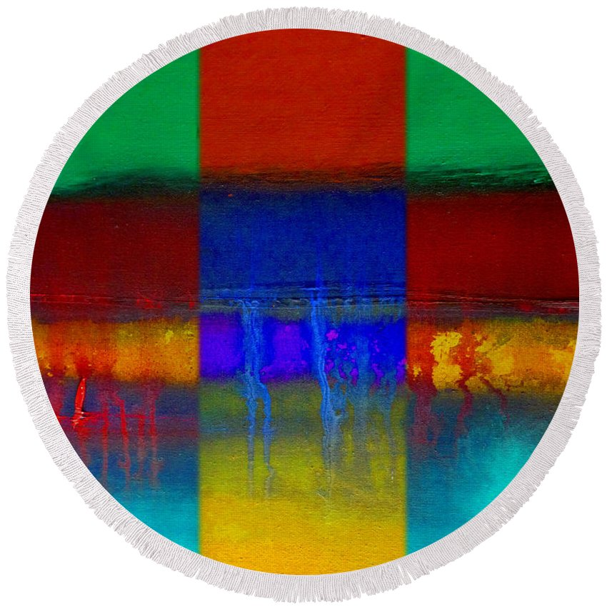 Landscape Round Beach Towel featuring the painting Color State by Charles Stuart