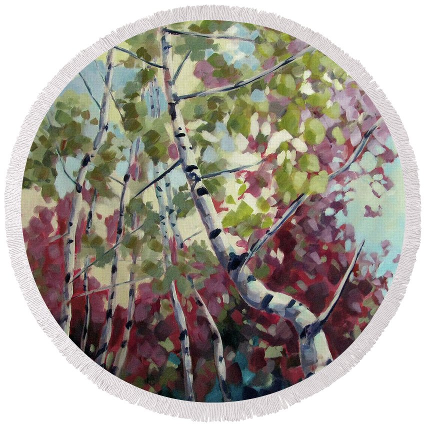 Trees Round Beach Towel featuring the painting Color Twirl by Melissa Gannon