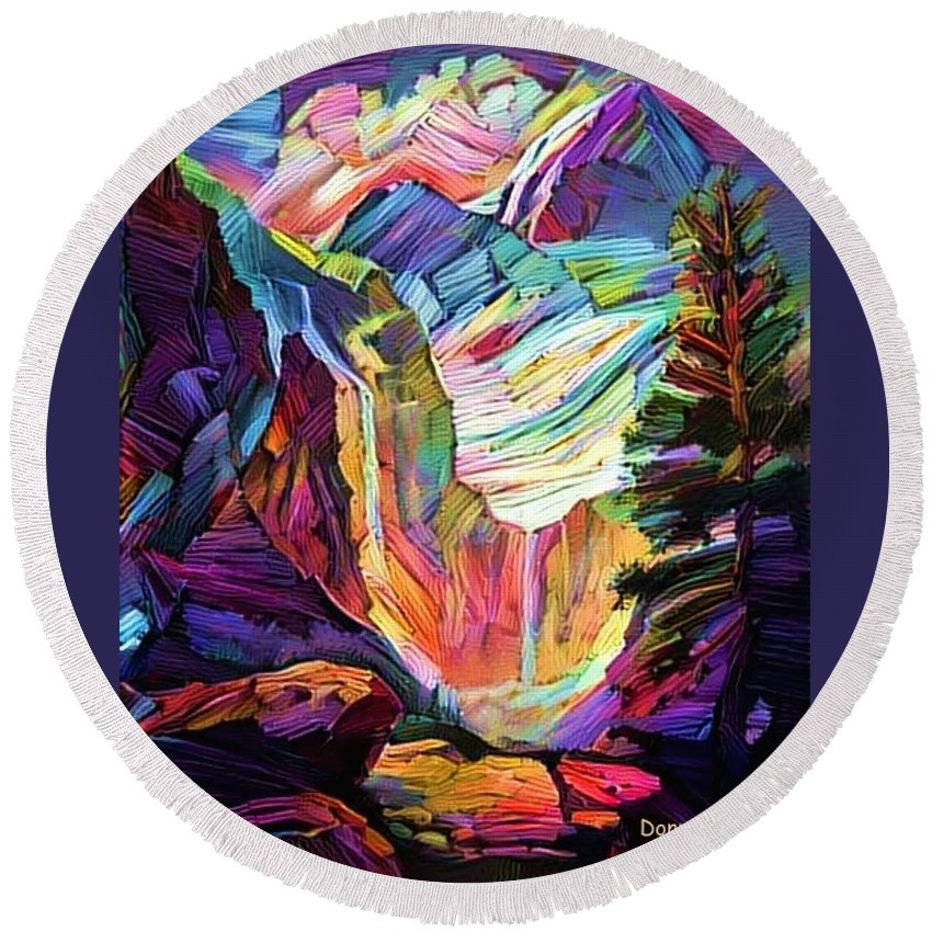 Mountains Round Beach Towel featuring the digital art Colorado Abstract by Donn Kay