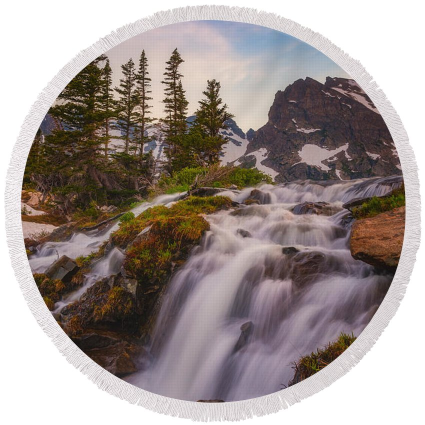 Mountains Round Beach Towel featuring the photograph Colorado Cascading Waters by Darren White