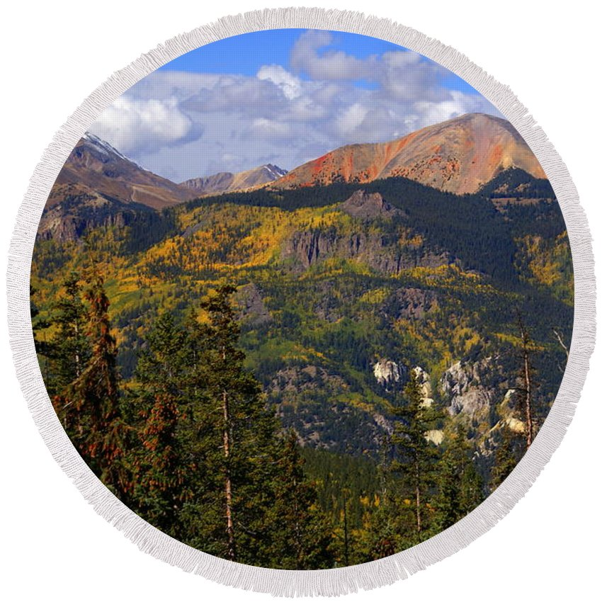 Mountain Round Beach Towel featuring the photograph Colorado Fall by Marty Koch
