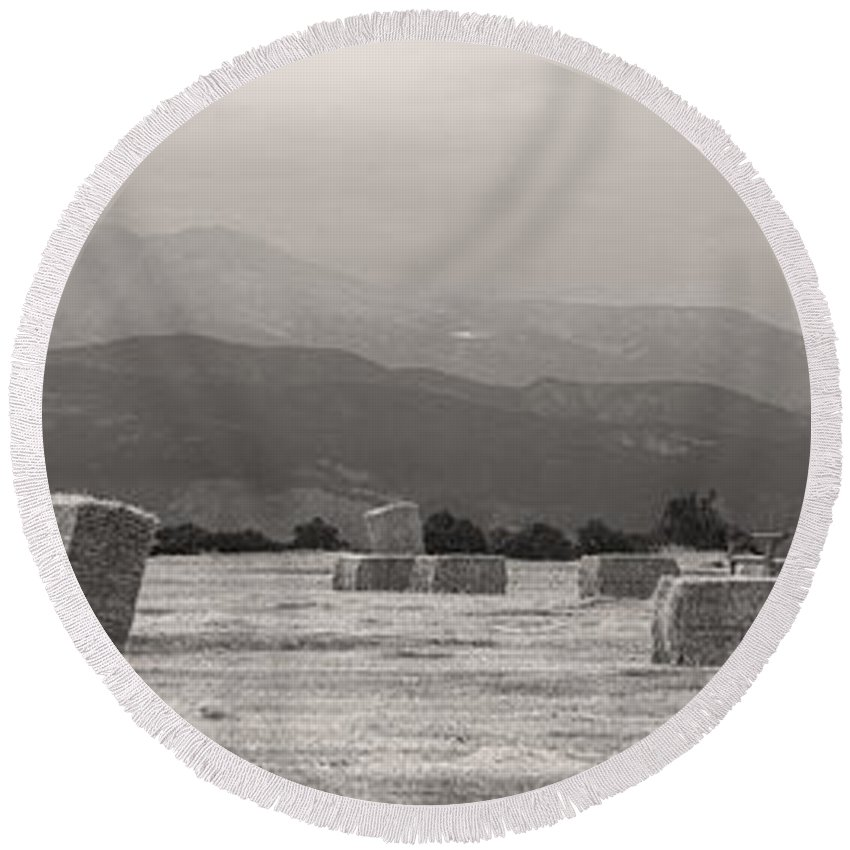 Mountains Round Beach Towel featuring the photograph Colorado Farming Panorama View In Black And White by James BO Insogna