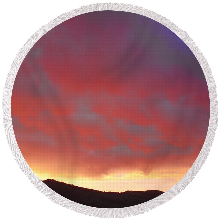 Boulder County Round Beach Towel featuring the photograph Colorado Front Range Rocky Mountains Foothills Sunset by James BO Insogna