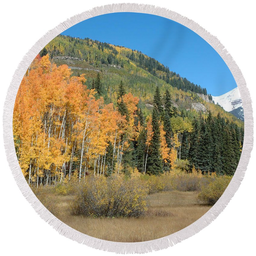 Aspen Round Beach Towel featuring the photograph Colorado Gold by Jerry McElroy