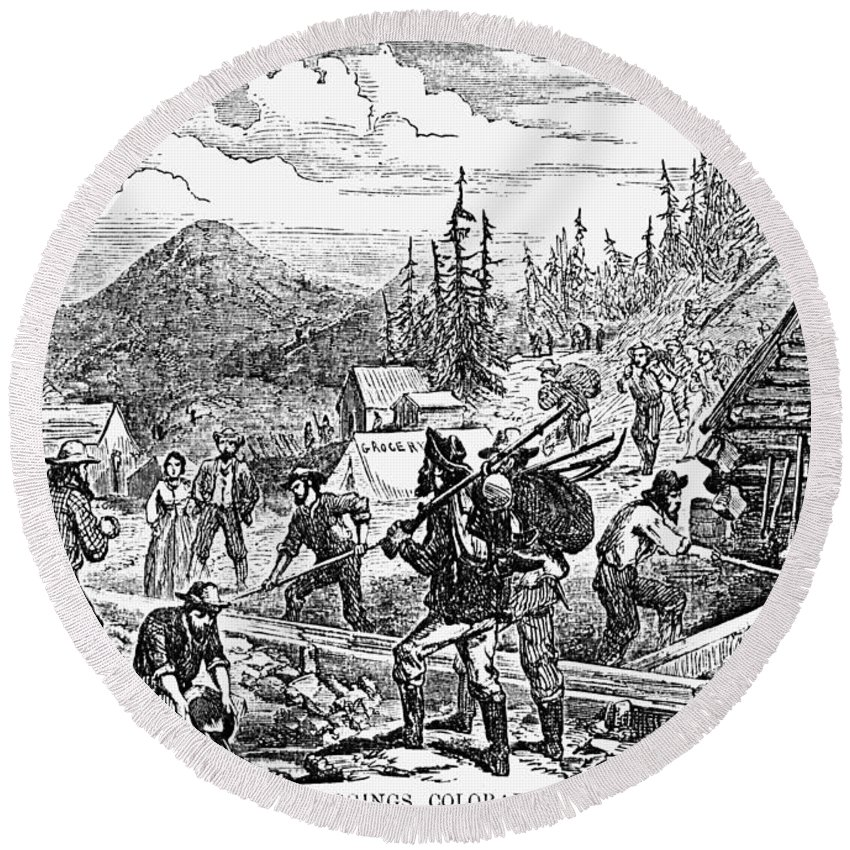 1859 Round Beach Towel featuring the photograph Colorado: Gold Mining, 1859 by Granger