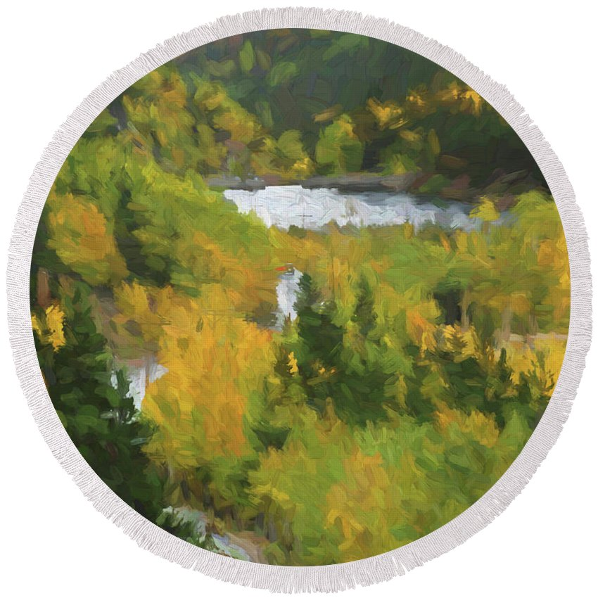 Colorado Round Beach Towel featuring the painting Colorado Lake And Colors by Steven Parker