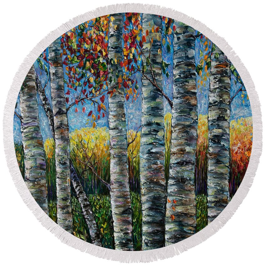 Palette Knife Painting Round Beach Towel featuring the painting Rocky Mountain High by OLena Art Brand