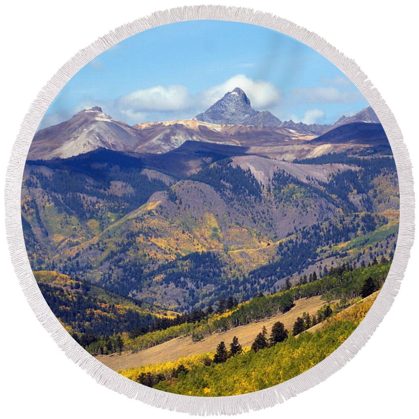 Mountains Round Beach Towel featuring the photograph Colorado Mountains 1 by Marty Koch