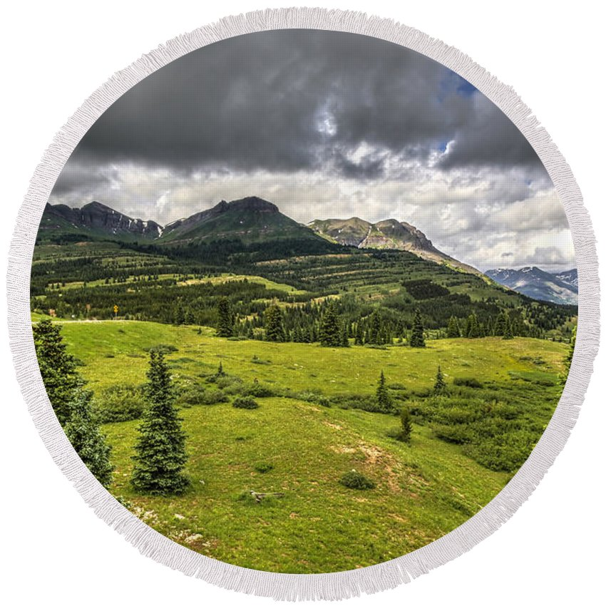 Photographs Round Beach Towel featuring the photograph Colorado Mountains After Summer Rain by Felix Lai