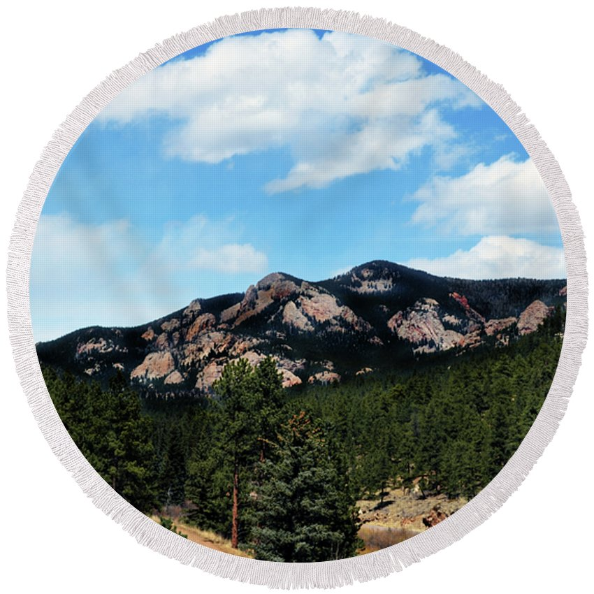 Colorado Round Beach Towel featuring the photograph Colorado Mountains by Angelina Tamez
