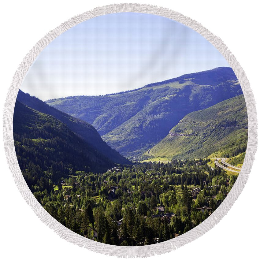 Mountains Round Beach Towel featuring the photograph Colorado Mountains by Madeline Ellis