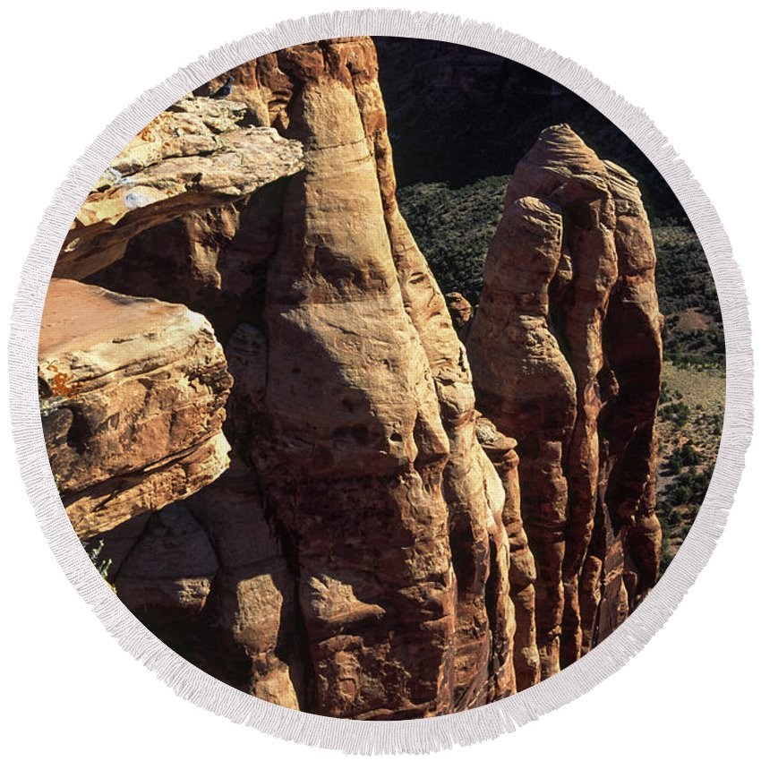 Rock Monument Round Beach Towel featuring the photograph Colorado National Monument by Sally Weigand