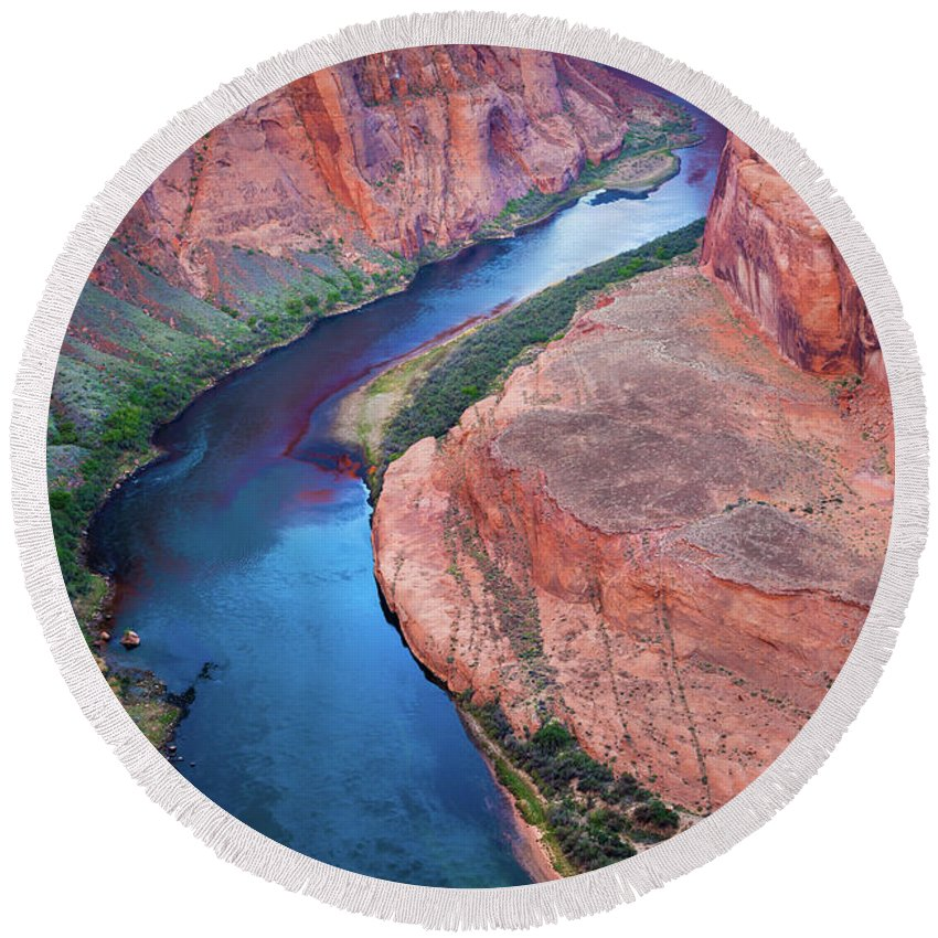 America Round Beach Towel featuring the photograph Colorado River Bend by Inge Johnsson