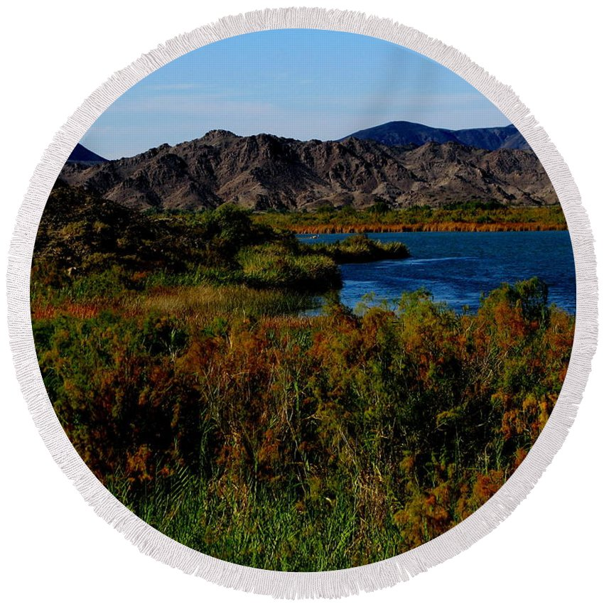 Patzer Round Beach Towel featuring the photograph Colorado River by Greg Patzer
