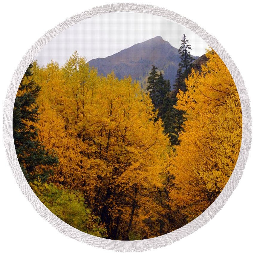 Fall Colors Round Beach Towel featuring the photograph Colorado Road by Marty Koch
