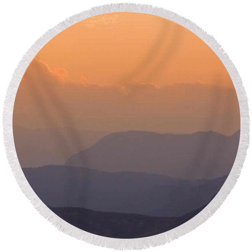 Sunset Round Beach Towel featuring the photograph Colorado Rocky Mountain Sunset Layers by James BO Insogna