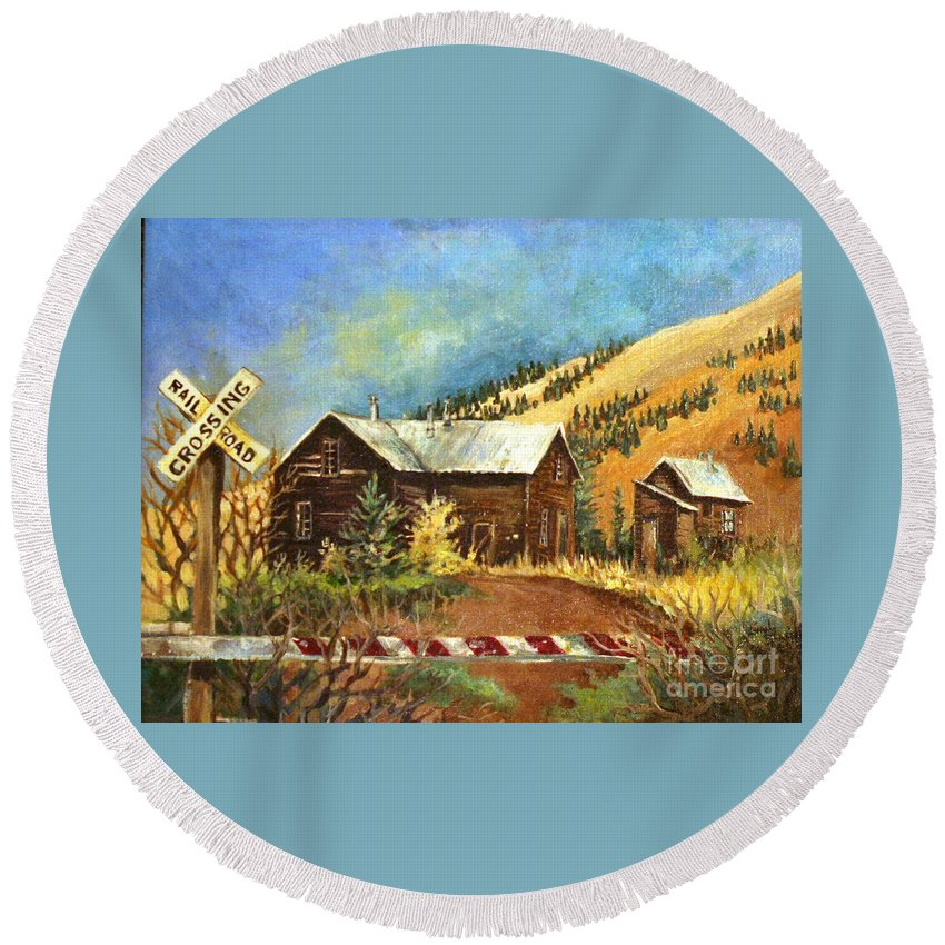 House Round Beach Towel featuring the painting Colorado Shed by Linda Shackelford