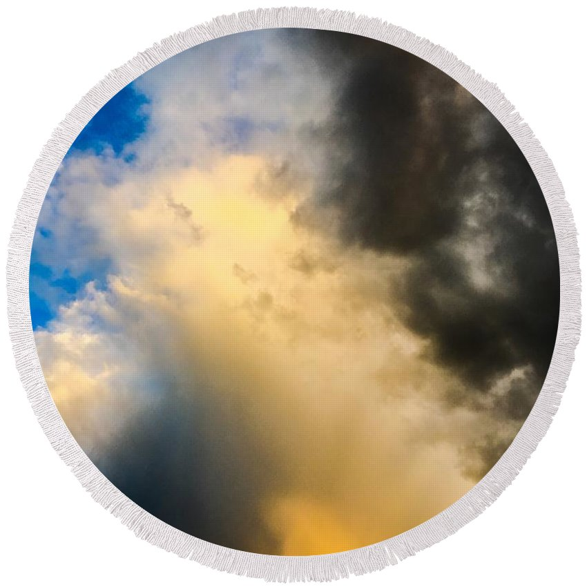 Clouds Round Beach Towel featuring the photograph Colorado Skies by Angela Sherrer