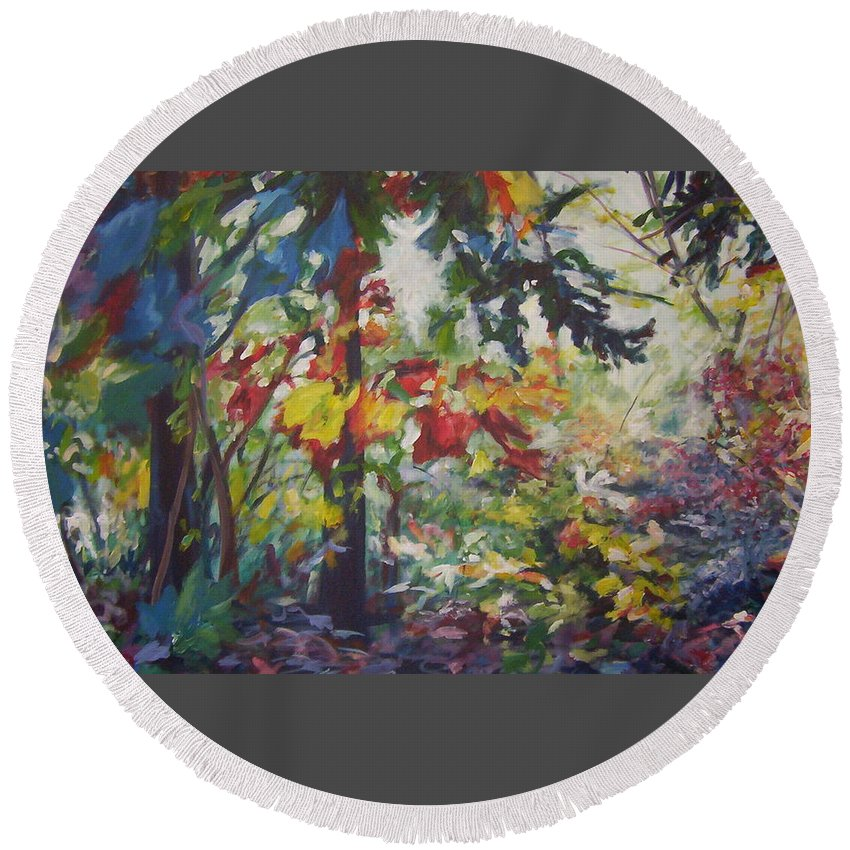Landscape Round Beach Towel featuring the painting Colorblind by Sheila Holland